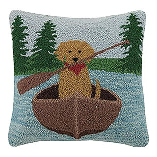 """Golden Lab Canoeing Hook Pillow, 16"""" x 16"""" For Sale"""