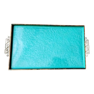 Vintage Kyes Moire Turquoise Glaze and Gold Brass Greek Key Tray For Sale
