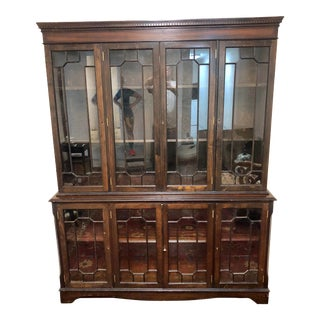 1900s Chippendale Georgian Stepback Cabinet With Leaded Glass Top and Bottom