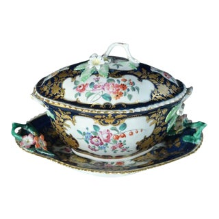 First Period Worcester Porcelain Mazarine Blue-Ground Botanical Sauce Tureen For Sale