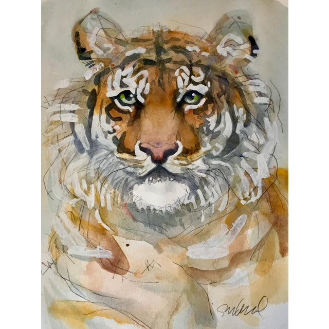 Realism Peaceful Tiger, Original Watercolor and Houspaint. For Sale - Image 3 of 3
