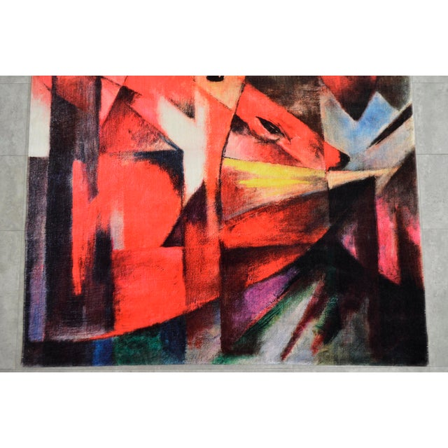 """Cotton Franz Marc """"Foxes"""" Inspired Area Rug - 4′10″ x 5′9″ For Sale - Image 7 of 10"""