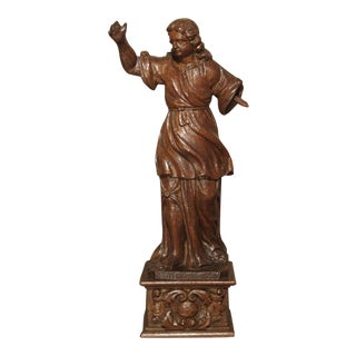 Small 17th Century Carved Oak Statue From France For Sale