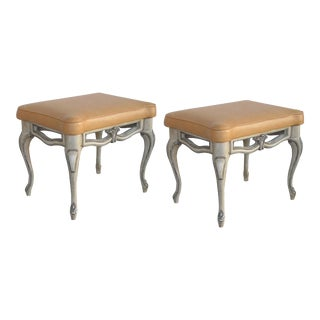 A gracefully-shaped pair of French rococo style gray-painted rectangular stools with leather seats For Sale