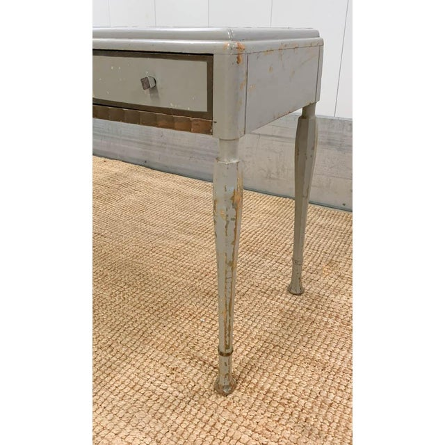 Gray Antique Art Deco Desk, Vanity, Mirror and Chair, Signed Luce Furniture For Sale - Image 8 of 13