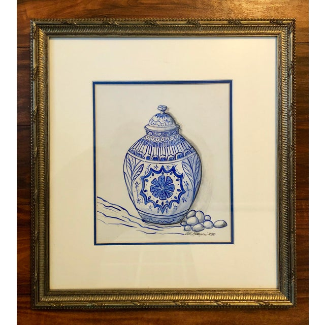 Art Hansen Blue and White Ginger Jar Painting For Sale In Charleston - Image 6 of 6