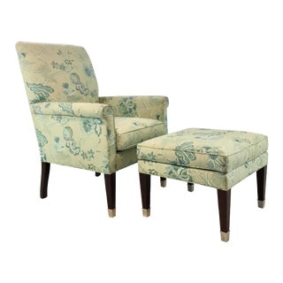 Hickory Chair Traditional Blue and Green Floral Print Chair and Ottoman Set For Sale
