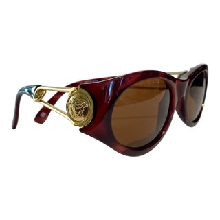 1990s Medusa Tortoise Shell Gianni Versace Sunglasses With Case For Sale