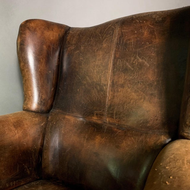 Vintage Stitched-Leather Wing Chair, 20th Century For Sale - Image 9 of 11