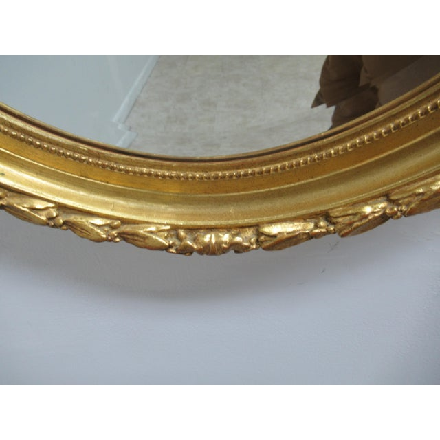 Vintage French Regency Gold Gilt Oval Hanging Wall Mirror For Sale In Philadelphia - Image 6 of 13