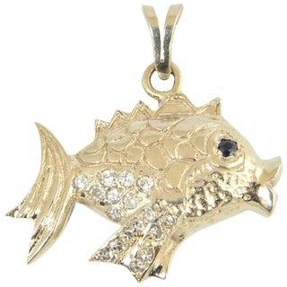 Vintage Diamond, Sapphire and Gold Fish Charm Pendant For Sale