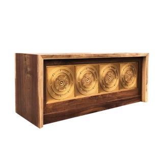 Custom Designed Live Edge Walnut and Brass Paneled Desk