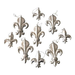 Fleur D' Lis Christmas Ornaments, Set of 9 For Sale