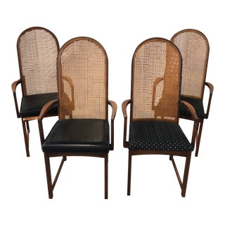 1960s Vintage Milo Baughman Walnut & Cane Arch-Back Dining Chairs- Set of 4 For Sale