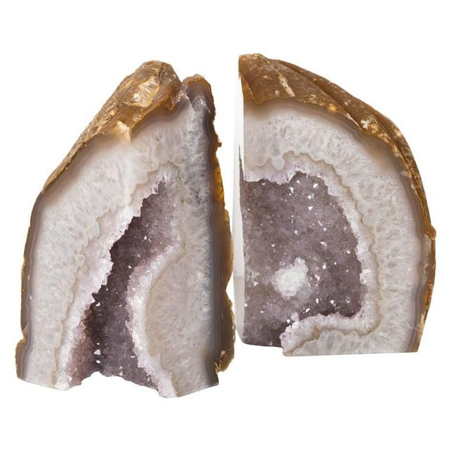 Contemporary Organic Modern Crystal & Agate Bookends with Amethyst Center For Sale - Image 3 of 8