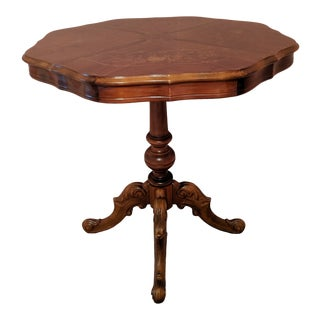 Italian Louis XVI Style Marquetry Inlaid Scalloped Pie Crust Pedestal Table For Sale