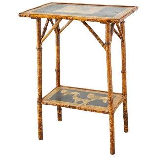 English Regency Style Tortoiseshell Bamboo Decoupage Lion Table For Sale