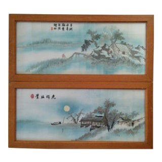 Antique/Vintage Japanese Hand Embroidered Silk-On-Silk Wall Art a Pair For Sale