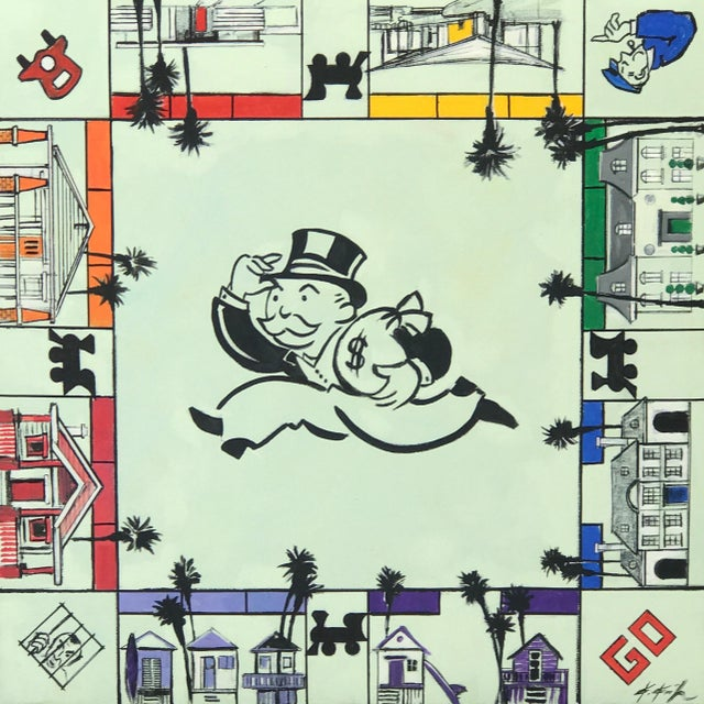 """Kathleen Keifer """"Uncle Pennybags Real Estate"""" Contemporary Painting For Sale"""