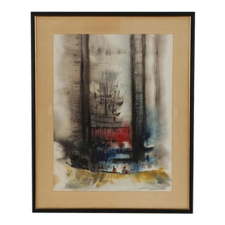 Original Vintage Signed Watercolor-Lo Wai Hin-Abstract Architectural-Framed For Sale