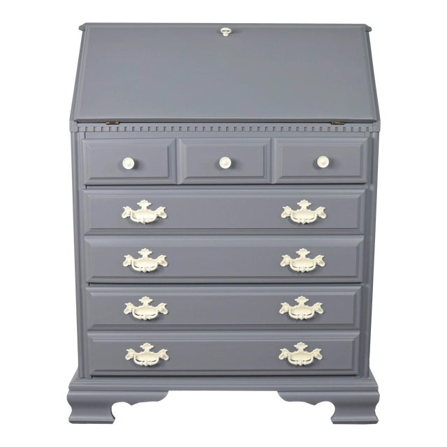 19th Century Traditional Gray and Off White Secretary Desk For Sale