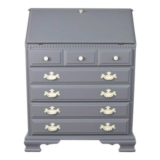 Traditional Gray and Off White Secretary Desk For Sale