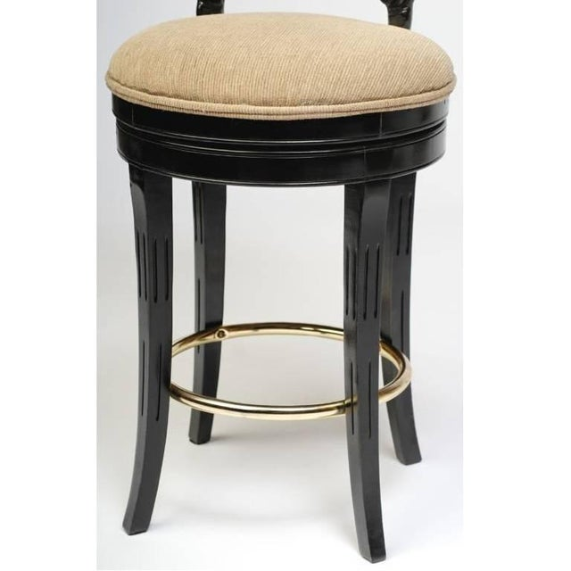 Black Set of Three Italian Carved Shell Back Bar Stools For Sale - Image 8 of 10