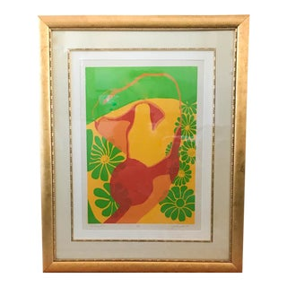 """Mid Century Signed Lithograph - Carnell - 1969 """"Reclining Form"""""""