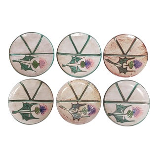 1960's French Fat Lava Floral Motif Plates - Set of 6 For Sale
