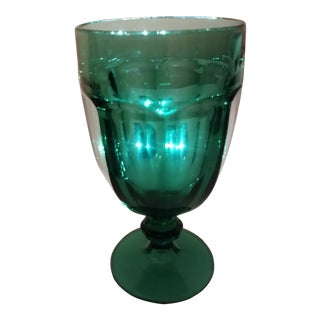 Vintage Libbey Glass Co. Green Goblet