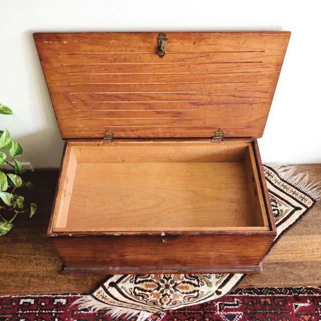 English Antique Oak Desk Box With Brass Hardware For Sale - Image 3 of 10
