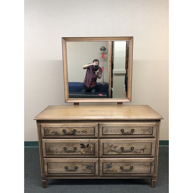 Vintage Handpainted Dresser + Mirror, From Herald Furniture For Sale - Image 13 of 13