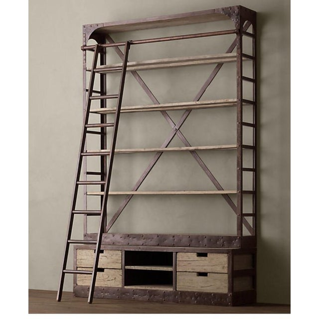 Dutch shipyard bookcase and media center! Iron with reclaimed walnut wood with iron latter. Please note that first photo...
