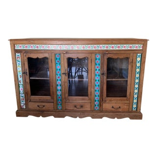 19th Century British Colonial Sideboard With Ceramic Tiles For Sale