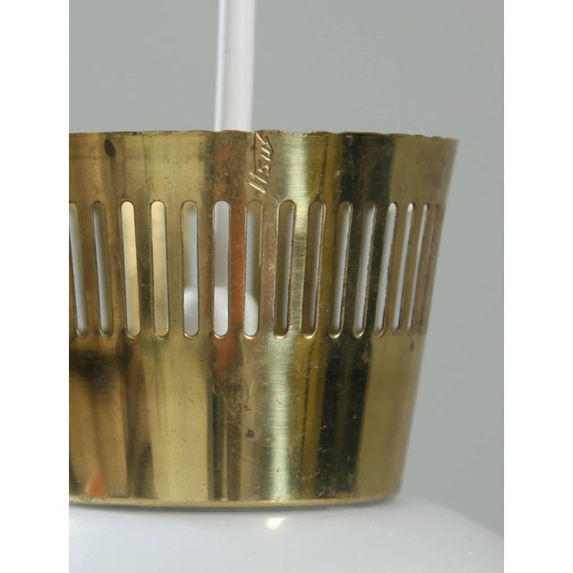 Mid-Century Modern Three-Arm Finish Chandelier with Opaline Glass Shades, Manner of Tynell, 1950s For Sale - Image 3 of 4
