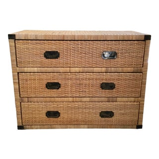 Bielecky Brothers Boho Chic Rattan Large 3 Drawer Chest For Sale