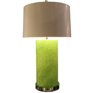 Contemporary Cilindro Chartreuse Glass Lamp