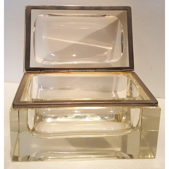 Art Deco Vintage Heavy Rectangular Crystal Box For Sale - Image 3 of 6