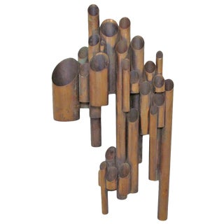 Artist Made Tubular Industrial Wall Sculpture in Copper For Sale