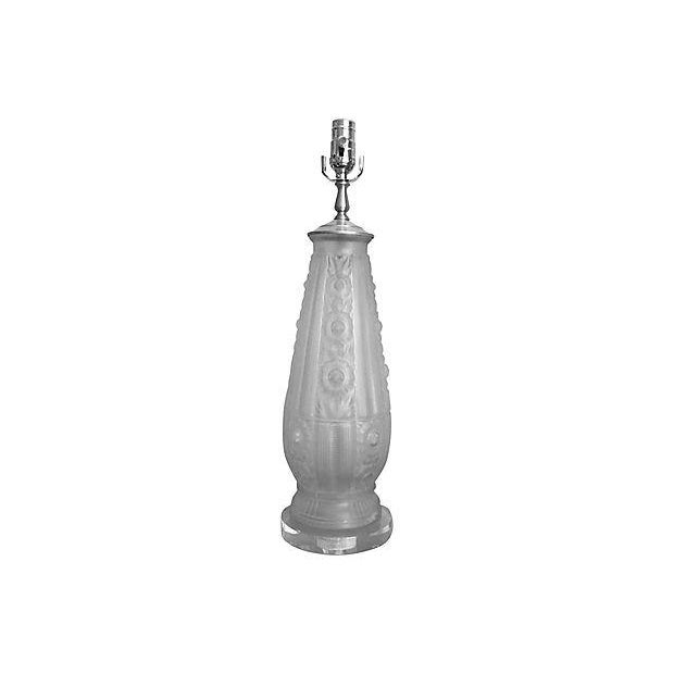 Antique French Frosted Glass Lamp For Sale - Image 6 of 7