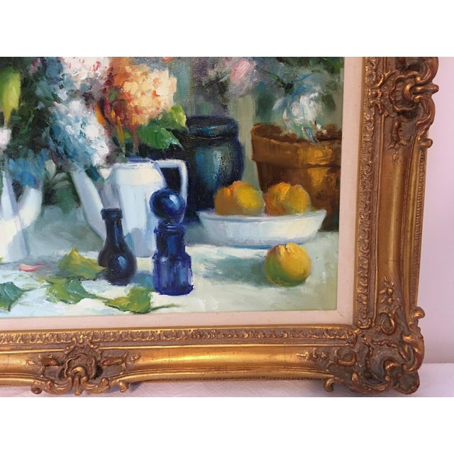 Canvas Vintage Still Life With Flowers Oil Painting by Manuel Cuberos For Sale - Image 7 of 12
