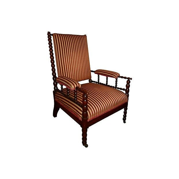 Antique Upholstered Bobbin Chair - Image 2 of 3