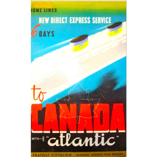 Art Deco Vintage Italian Travel Carton Canada Atlantic For Sale - Image 3 of 3
