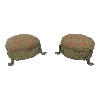 19th Century Victorian Brass Claw Foot Stools - a Pair