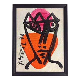 1972 Abstract Expressionism Original Painting of Portrait Tilted Genie by Peter Keil