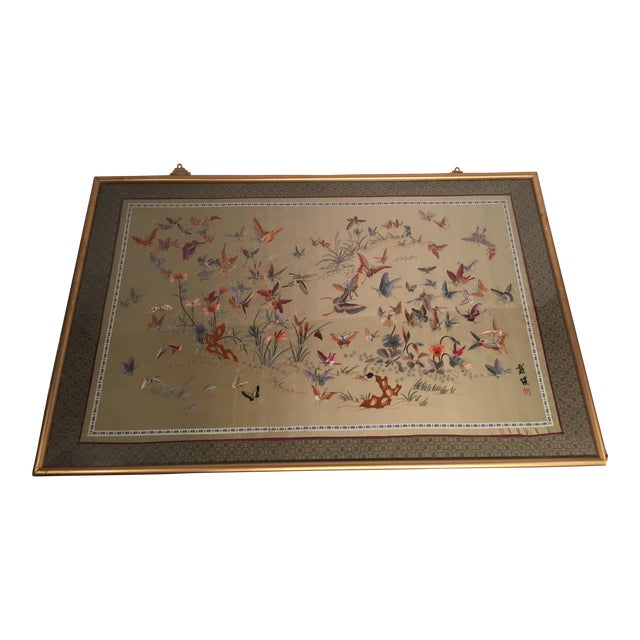 Antique Chinese Butterfly Garden Framed Embroidery - Image 1 of 11
