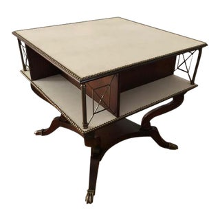Regency Style Leather Top Library Table For Sale