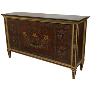 19th Century Marble Top Painted Chest Adapted to Dry Bar For Sale