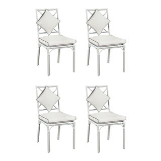 Haven Outdoor Dining Chair, Canvas White with Canvas Coal Welt, Set of Four For Sale