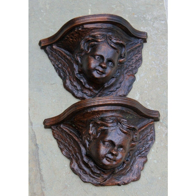 Pair Antique French Oak Wall Shelves Corbels Angels Cherubs Gothic Victorian For Sale In Dallas - Image 6 of 13